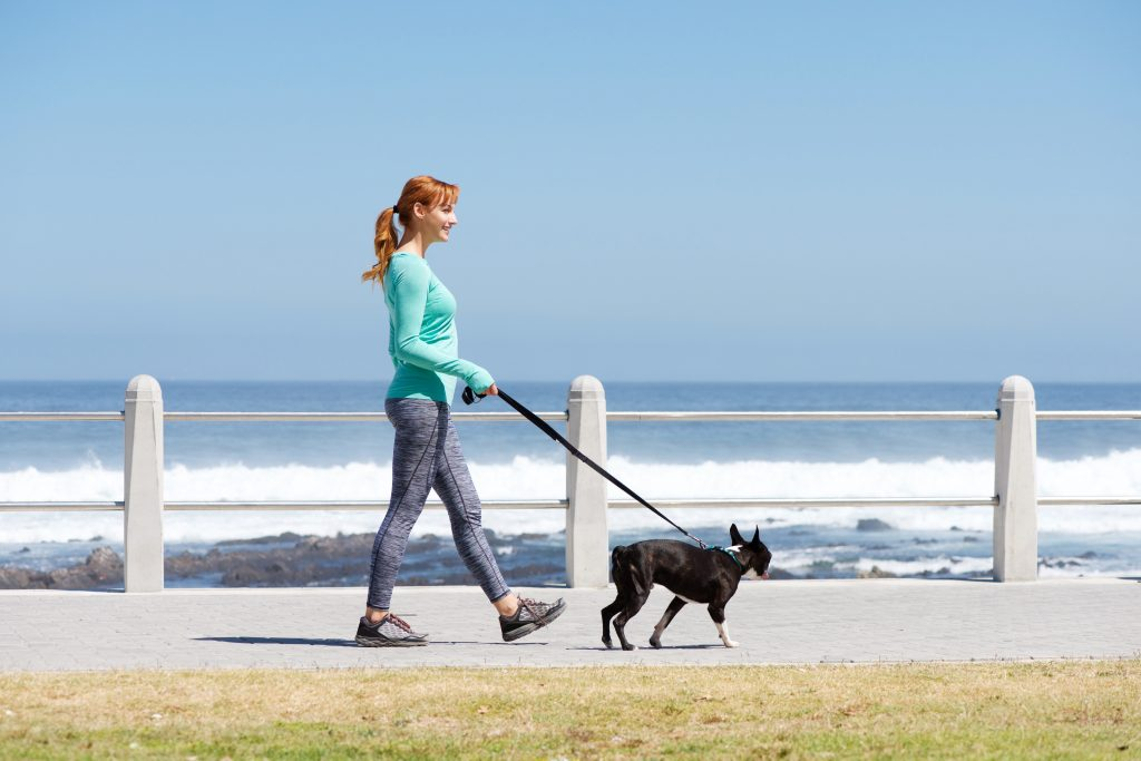 woman exercising by walking her dog