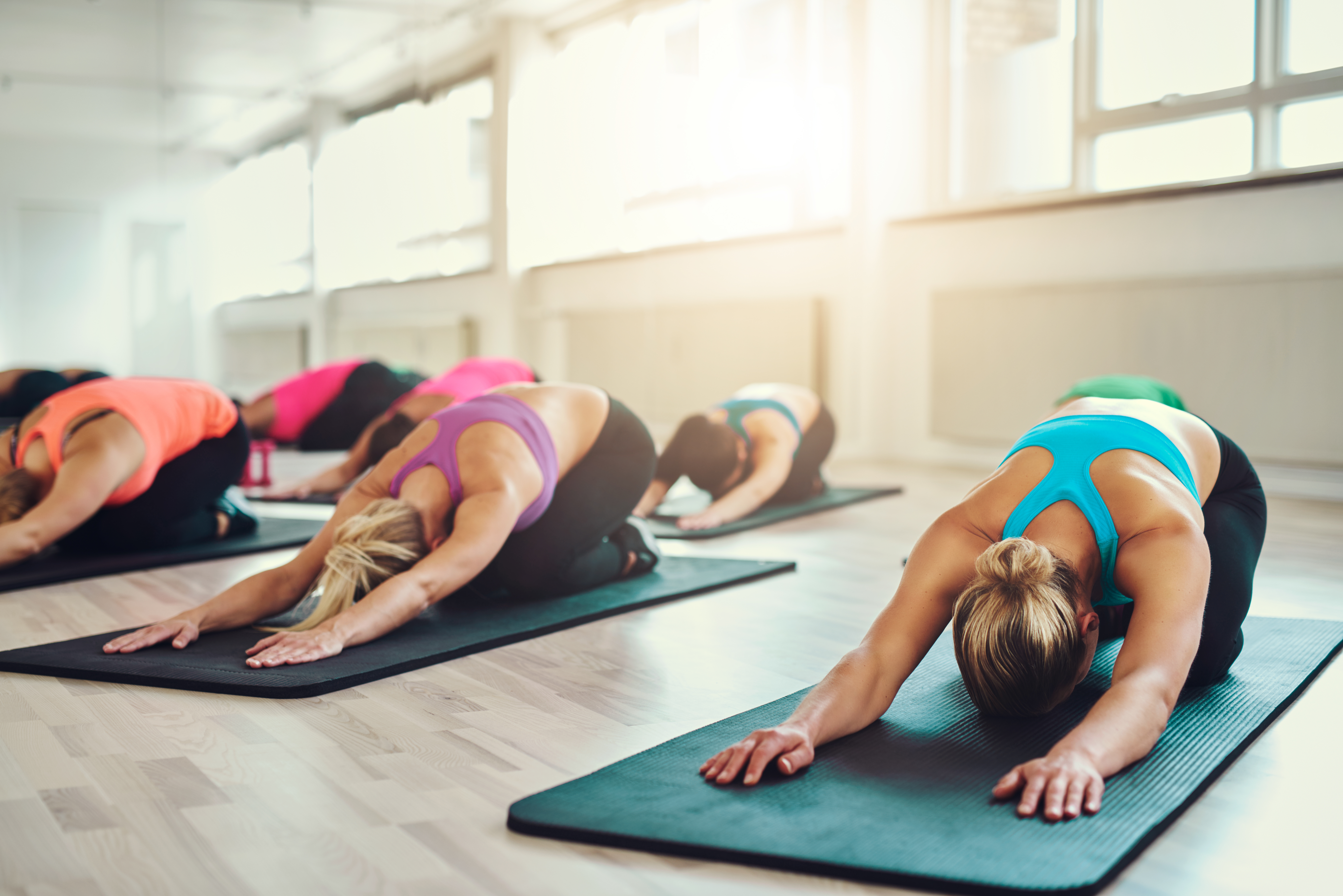 women in a group fitness class