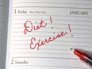 diet and exercise written in red ink on January 1st in calendar