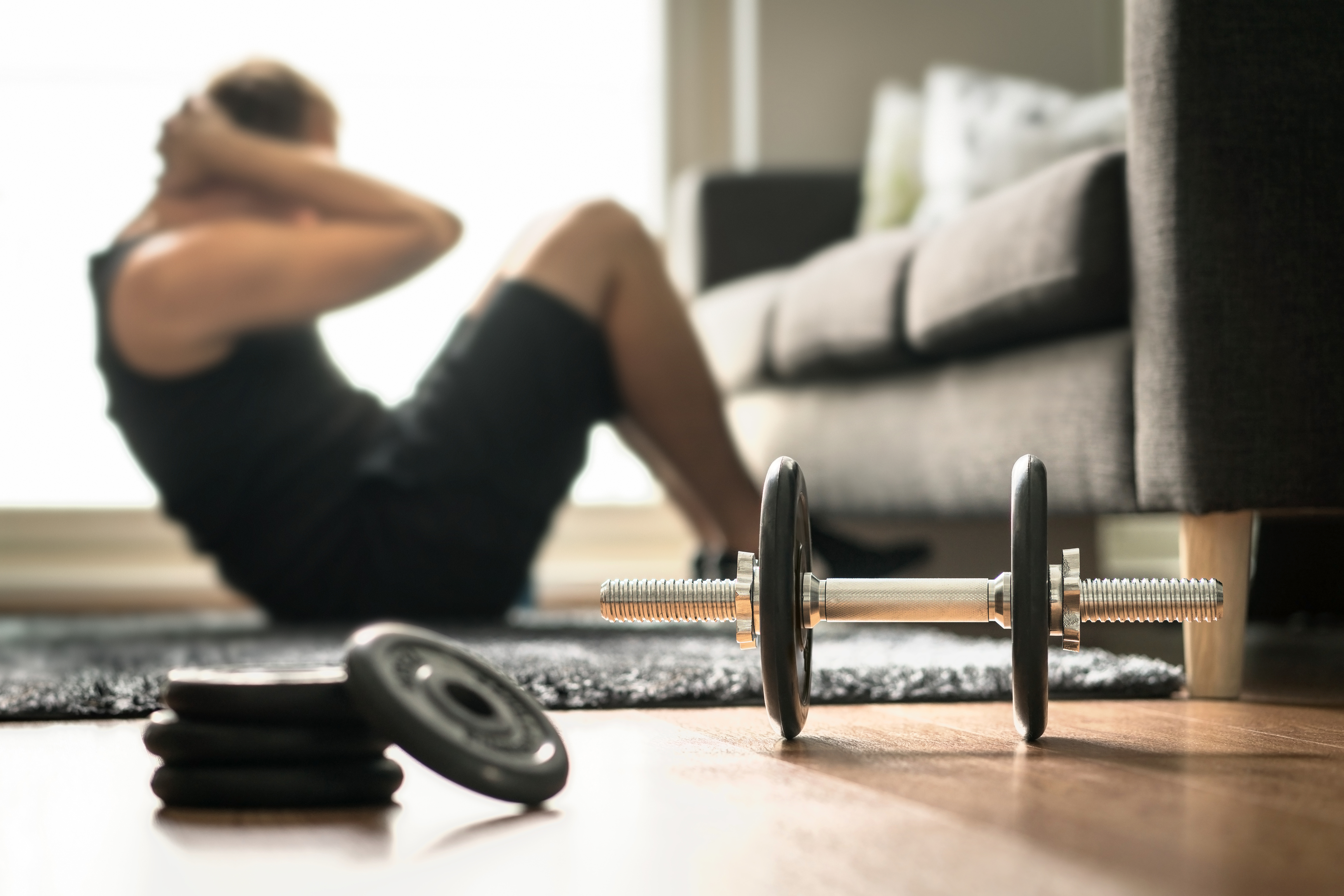 a man working out at home