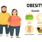 Infographic about the causes of obesity. Obesity can be caused by lack of exercise, food choice, health conditions, and genetics.
